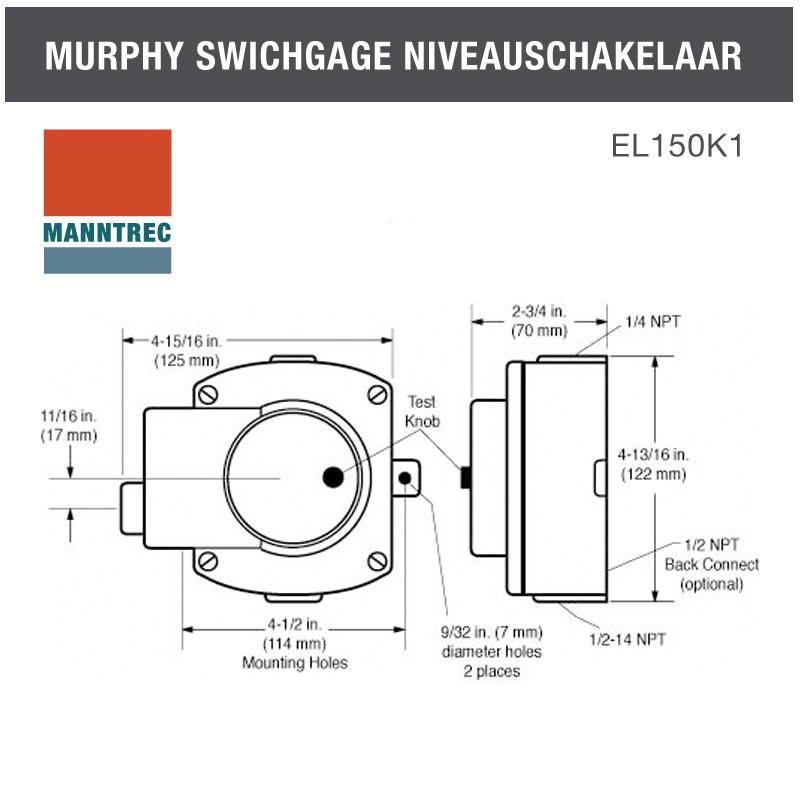 Murphy swichgage EL150K1 afmetingen